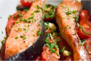 рыба и овощи в духовке